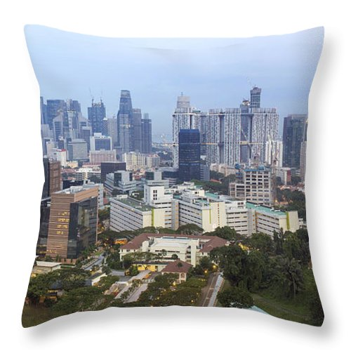 Singapore Throw Pillow featuring the photograph Singapore Financial District Skyline At Dusk by Jit Lim