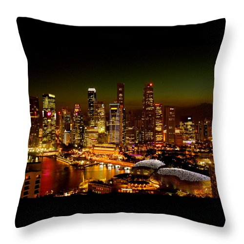 Fine Art America Throw Pillow featuring the photograph Singapore by Monique's Fine Art