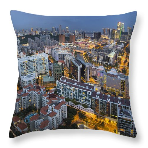 Singapore Throw Pillow featuring the photograph Singapore Skyline Along Singapore River by Jit Lim