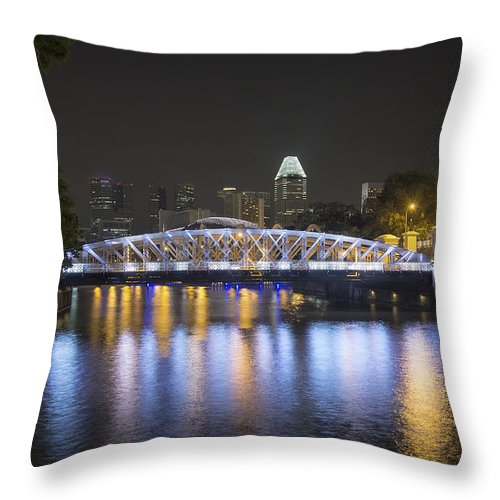 Singapore Throw Pillow featuring the photograph Singapore Skyline By Anderson Bridge At Night by Jit Lim