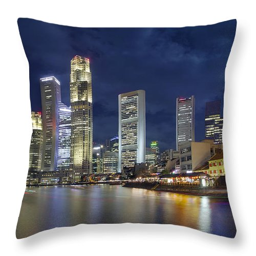 Singapore Throw Pillow featuring the photograph Singapore Skyline From Boat Quay by Jit Lim