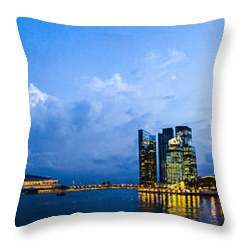 Singapore Throw Pillow featuring the photograph Singapore Skyline by Roald Nel
