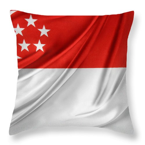 Banner Throw Pillow featuring the photograph Singaporean Flag by Les Cunliffe