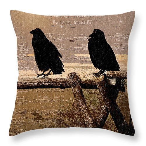 Birds Throw Pillow featuring the photograph Singing Crows by Barbara D Richards