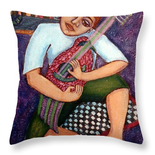 Children Throw Pillow featuring the painting Singing Dreams by Madalena Lobao-Tello