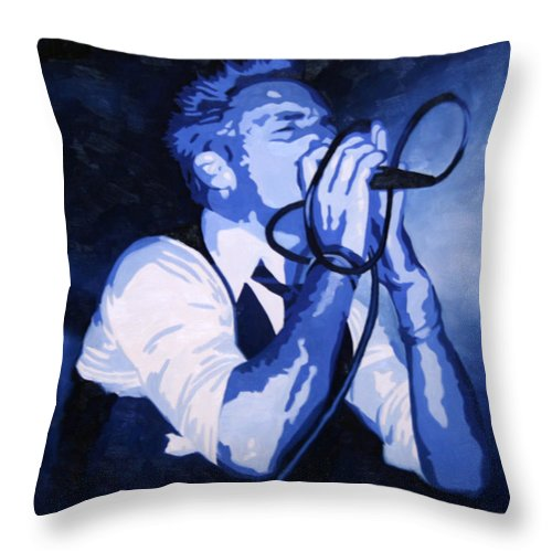 Musician Throw Pillow featuring the painting Singing In Blue by Guenevere Schwien