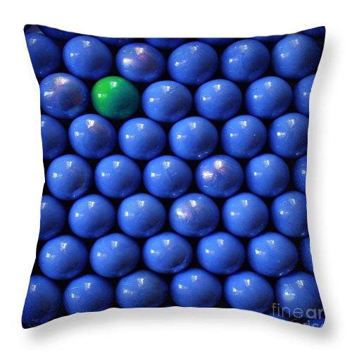 Blue Throw Pillow featuring the photograph Single Green Ball by Danuta Bennett
