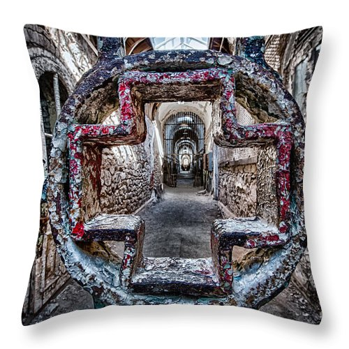 Canon Throw Pillow featuring the photograph Sinister Help by Nicholas Pappagallo Jr