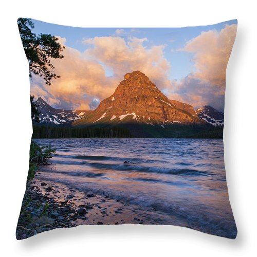 Mt Sinopah Throw Pillow featuring the photograph Sinopah Rising by Jack Bell