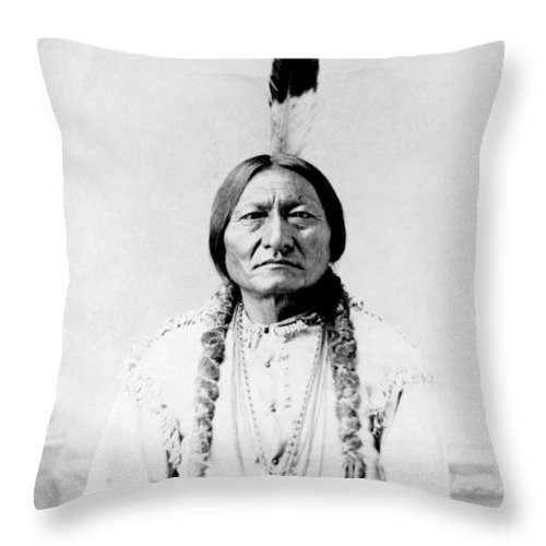 Native American Throw Pillow featuring the photograph Sioux Chief Sitting Bull by War Is Hell Store