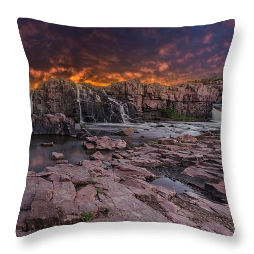 Sunset Throw Pillow featuring the photograph Sioux Falls by Aaron J Groen