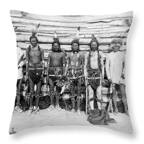 Sioux War Party Throw Pillow featuring the photograph Sioux War Party by Unknown