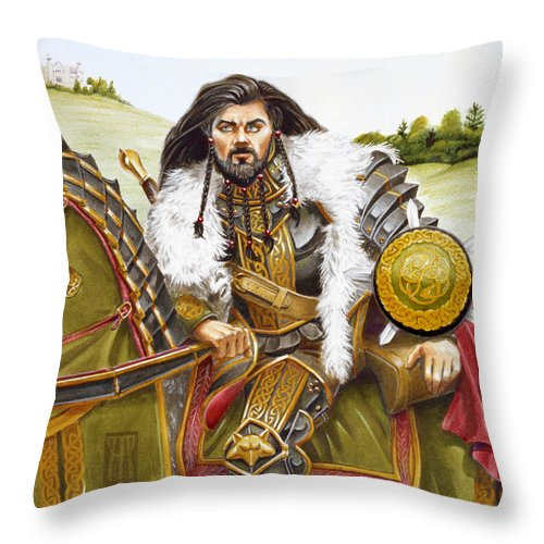 Fine Art Throw Pillow featuring the painting Sir Marhaus by Melissa A Benson