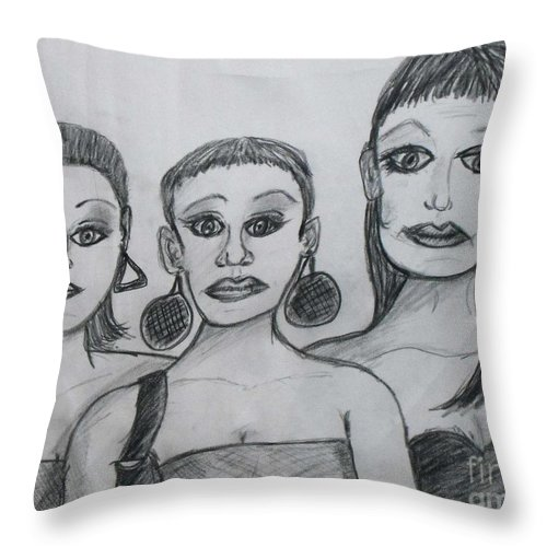 Sisters Throw Pillow featuring the drawing Sisters And Brother by Catherine Ratliff