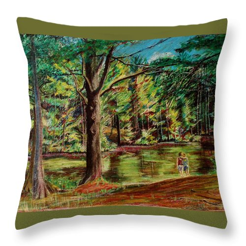 New Hampshire Throw Pillow featuring the pastel Sisters At Wason Pond by Sean Connolly