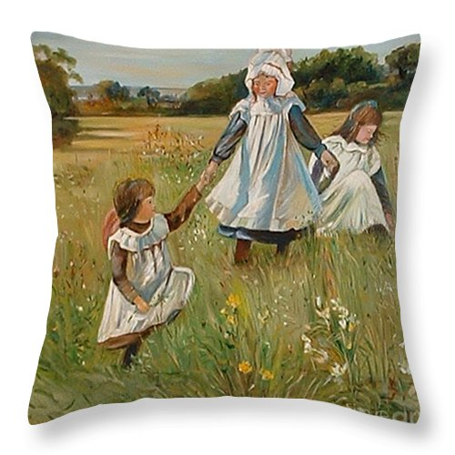 Classic Art Throw Pillow featuring the painting Sisters by Silvana Abel