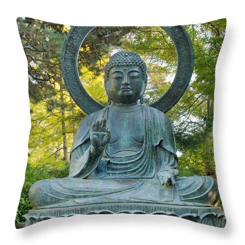 Buddha Throw Pillow featuring the photograph Sitting Bronze Buddha At San Francisco Japanese Garden by David Gn