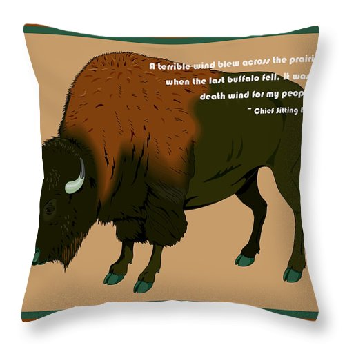 Digital Creation Throw Pillow featuring the digital art Sitting Bull Buffalo by Digital Creation