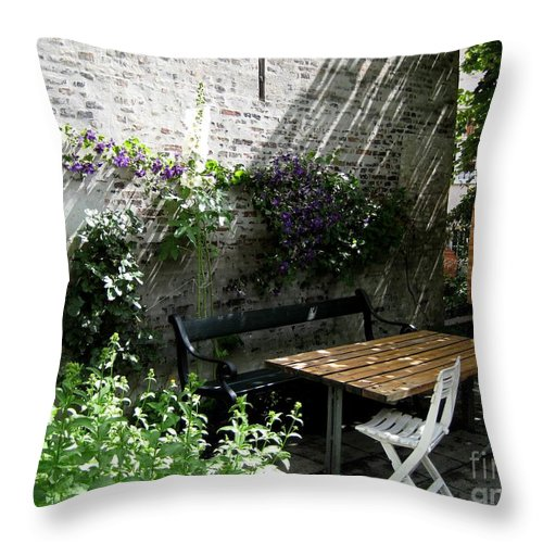 Back Yard Throw Pillow featuring the photograph Sitting In The Back Yard by Susanne Baumann