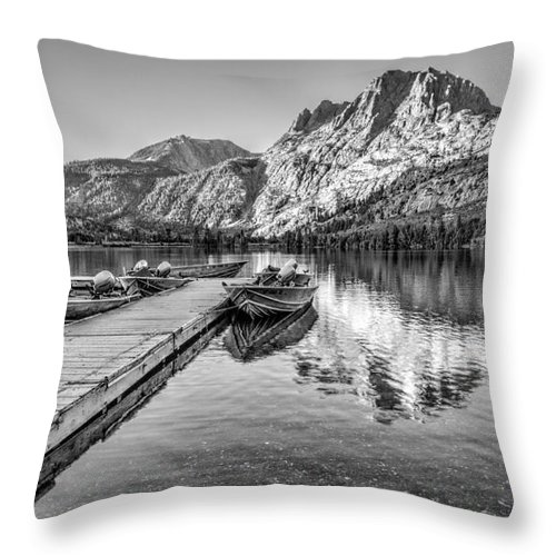 Black And White Throw Pillow featuring the photograph Silver Lake by Beth Sargent