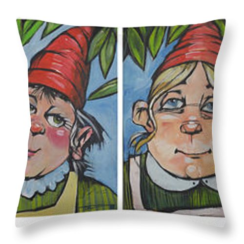 Gnome Throw Pillow featuring the painting Six Gnomes Horizontal by Tim Nyberg