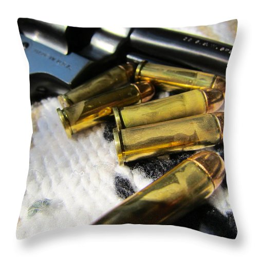 Pistol Throw Pillow featuring the photograph Six Shooter by Alan Metzger