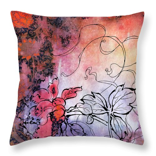 Flowers Throw Pillow featuring the painting Sketchflowers - Calendula by MGL Meiklejohn Graphics Licensing
