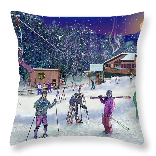 Ski Throw Pillow featuring the digital art Ski Area Campton Mountain by Nancy Griswold