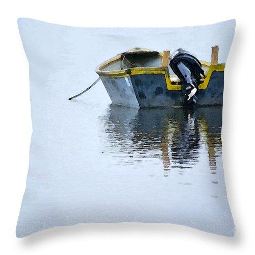 Skiff Throw Pillow featuring the digital art Skiff At Lost Creek by Cynthia Lagoudakis