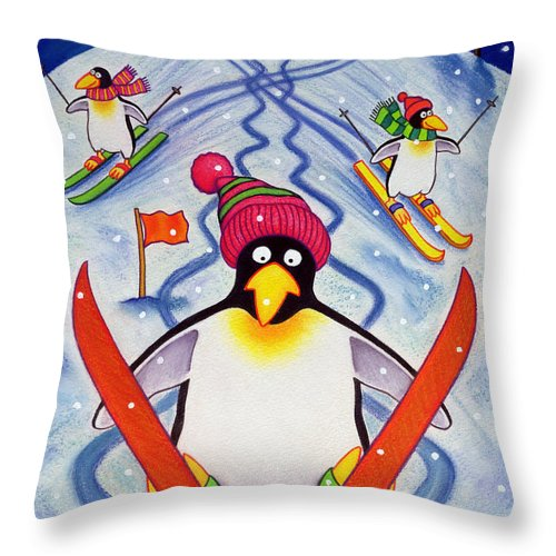 Winter Throw Pillow featuring the painting Skiing Holiday by Cathy Baxter