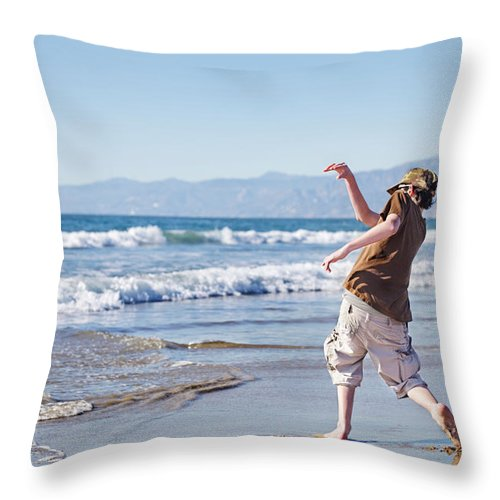 Teenage Boys Throw Pillow featuring the photograph Skimming Stones by Jo Ann Snover