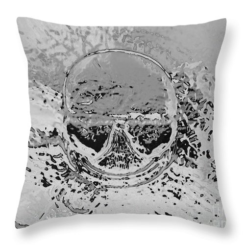 Skull Smile Tongue Cigar Glasses Round Gray Black Weird Art Human Interpretation Cathy Peterson Throw Pillow featuring the photograph Skull Smoking A Wide Cigar. by Cathy Peterson