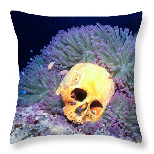 Micronesia Throw Pillow featuring the photograph Skulls 2 by Dawn Eshelman