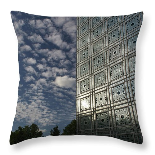 Arab World Institute Throw Pillow featuring the photograph Sky And Building by Gary Eason