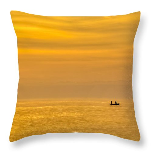 Gulf Of Mexico Throw Pillow featuring the photograph Sky And Water by Marvin Spates