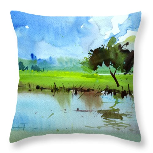 Nature Throw Pillow featuring the painting Sky N Farmland by Anil Nene