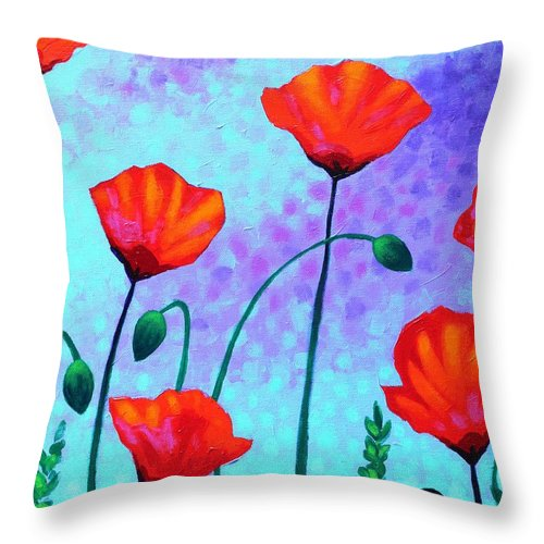 Acrylic Throw Pillow featuring the painting Sky Poppies by John Nolan