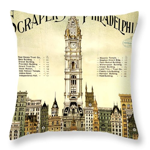 Sky Scrapers Of Philadelphia 1896 Throw Pillow featuring the digital art Sky Scrapers Of Philadelphia 1896 by Bill Cannon