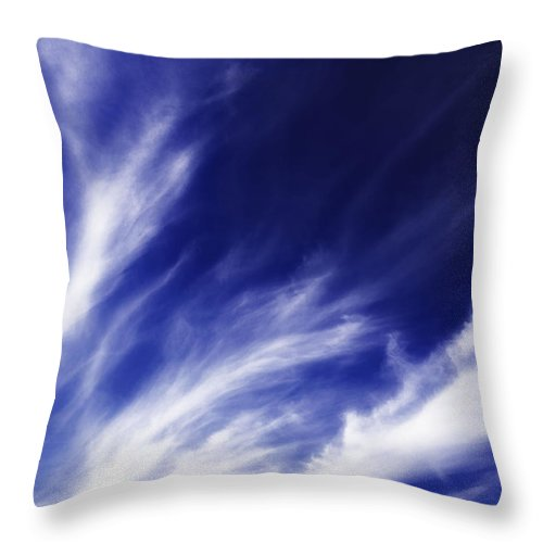 Clouds Throw Pillow featuring the photograph Sky Wisps Blue by Lenny Carter