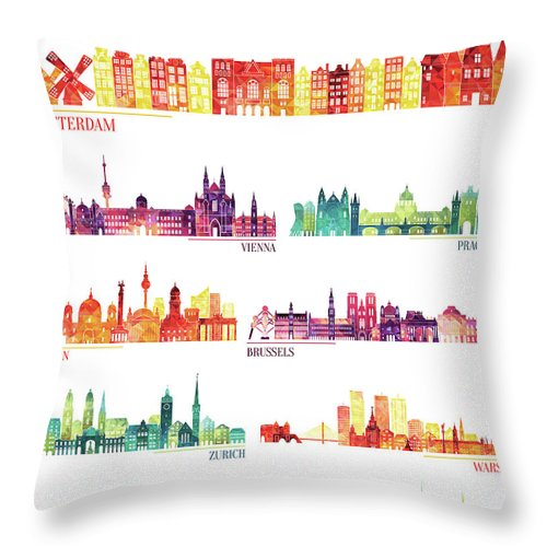 Dublin Throw Pillow featuring the digital art Skyline Detailed Silhouette Set by Katerina andronchik