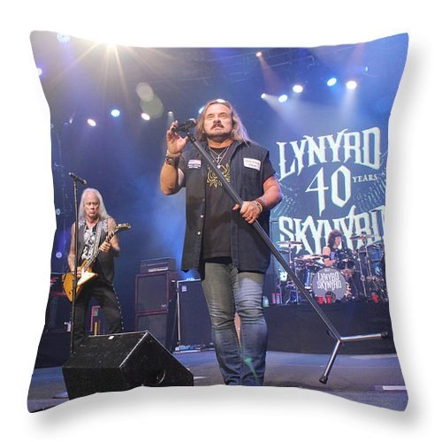 Lynyrd Skynyrd Throw Pillow featuring the photograph Skynyrd-group-7309 by Gary Gingrich Galleries