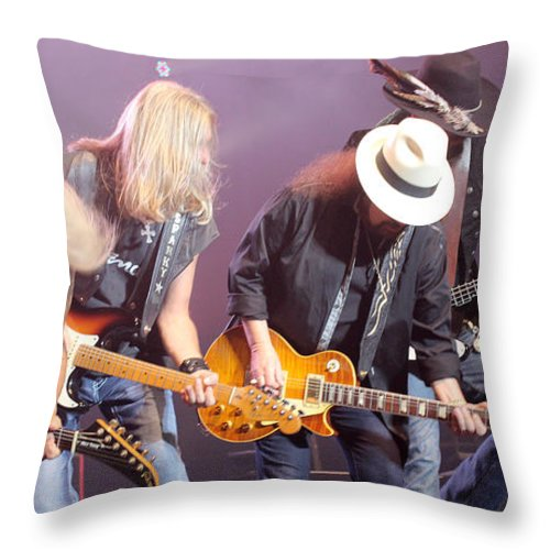 Lynyrd Skynyrd Throw Pillow featuring the photograph Skynyrd-group-7638 by Gary Gingrich Galleries