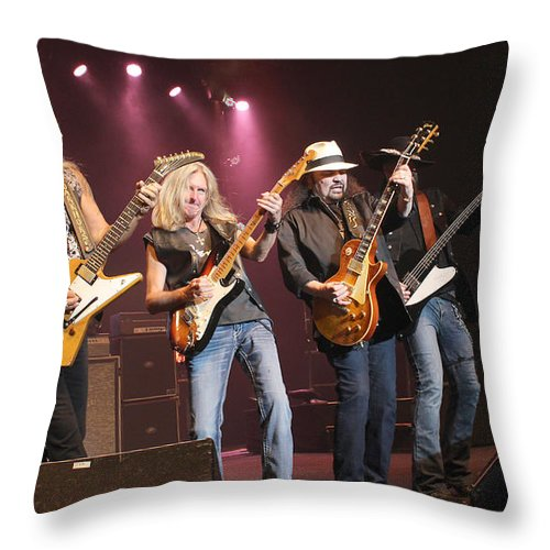 Lynyrd Skynyrd Throw Pillow featuring the photograph Skynyrd-group-7642 by Gary Gingrich Galleries