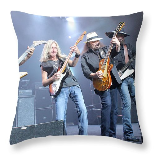Lynyrd Skynyrd Throw Pillow featuring the photograph Skynyrd-group-7643 by Gary Gingrich Galleries