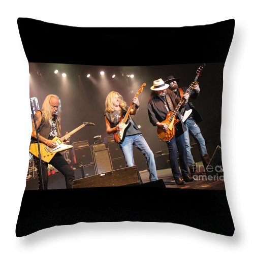 Lynyrd Skynyrd Throw Pillow featuring the photograph Skynyrd-group-7668 by Gary Gingrich Galleries
