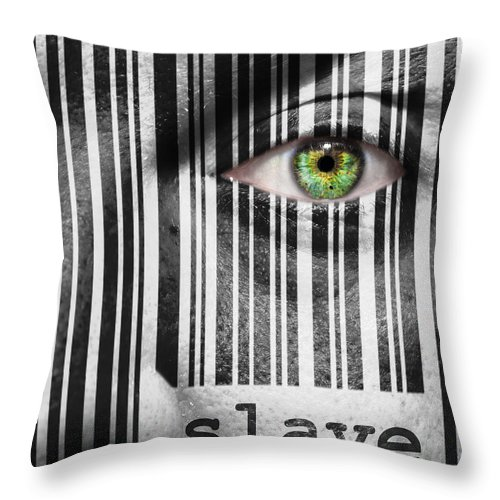 Black Throw Pillow featuring the photograph Slave by Semmick Photo