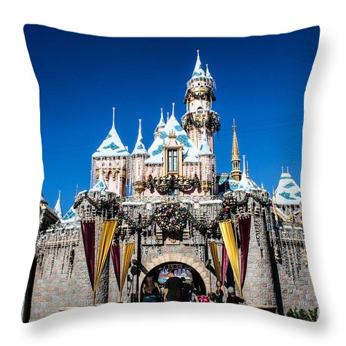 Disneyland Throw Pillow featuring the photograph Sleeping Beauty's Castle by Tommy Anderson