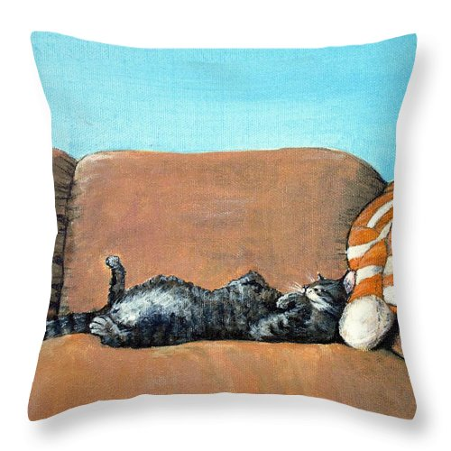 Calm Throw Pillow featuring the painting Sleeping Cat by Anastasiya Malakhova