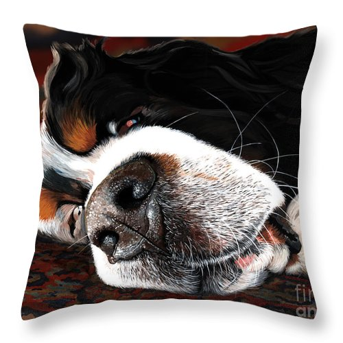 Berner Bernese Mountain Dog Sleeping Drooling Nose Close Up Fast Asleep Happy Dreaming Puppy Rug Snoring Liane Weyers Artist Love Art Painting Whiskers Nostrils Pup Throw Pillow featuring the painting Sleeping Dogs Lie by Liane Weyers
