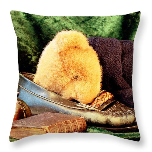 Teddy Throw Pillow featuring the photograph Sleeping Teddy by Louise Heusinkveld